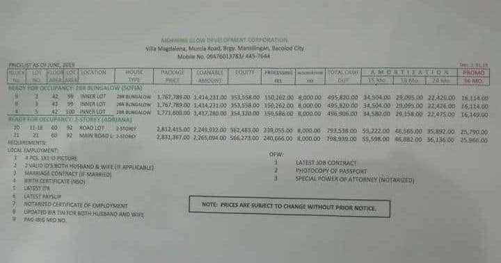 Pricing Villa Magdalena Bacolod RFO Mar 2020
