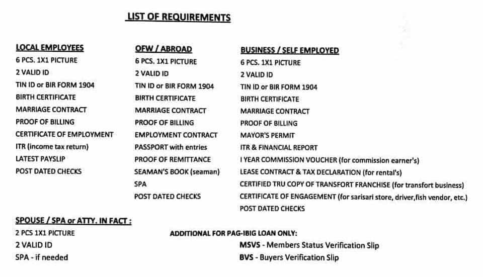 Requirements for Villa Estefania