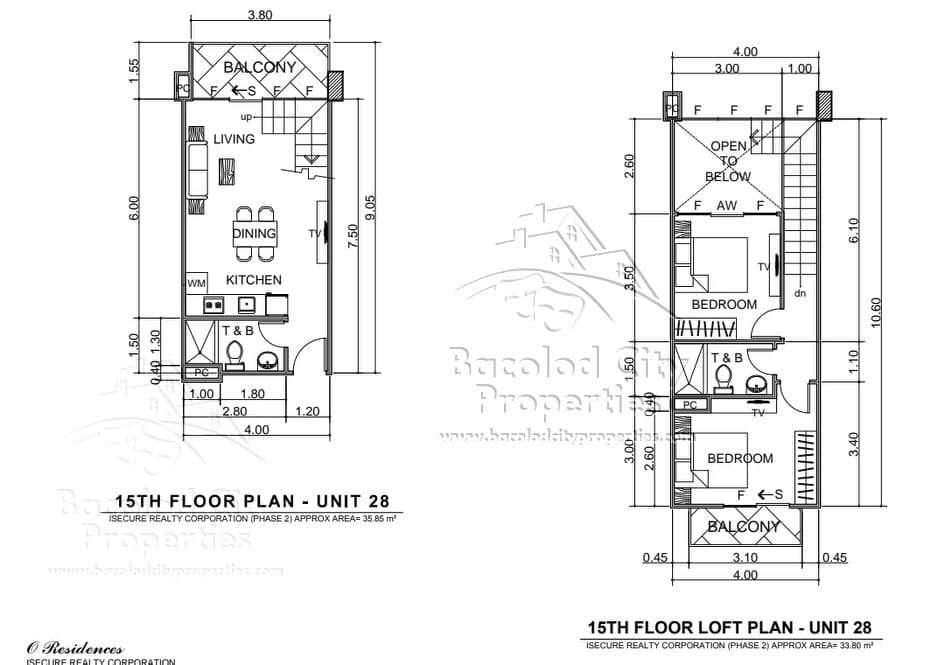 Floor Plan O Residence 2 bedroom lof ttype