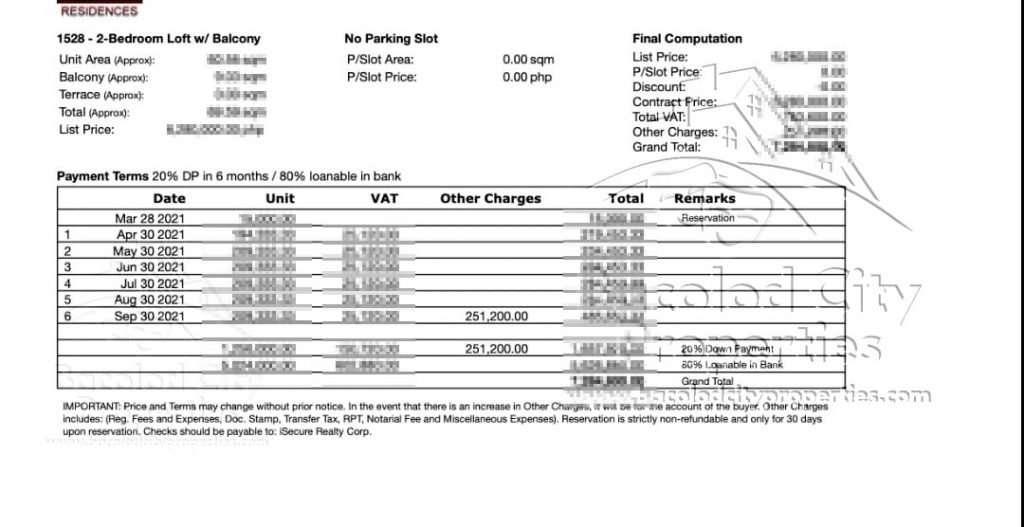 O Residences Actual Price - Copy